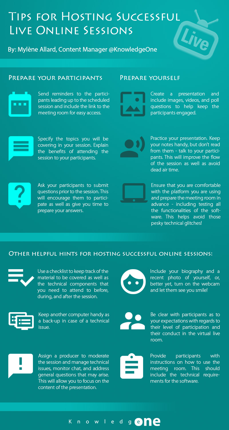 Tips for hosting successful live online sessions - infographic