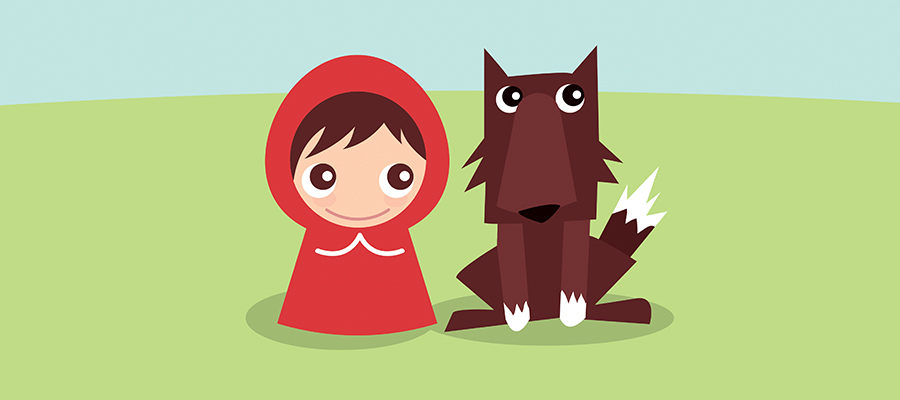 Drawing of Red Riding Hood and a wolf