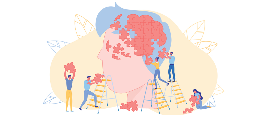 Drawing of people completing a brain puzzle