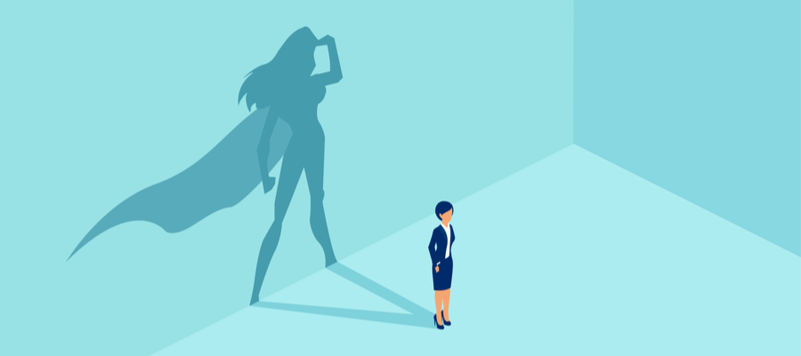 Darwing of a woman with her shadow in the form of a superwoman