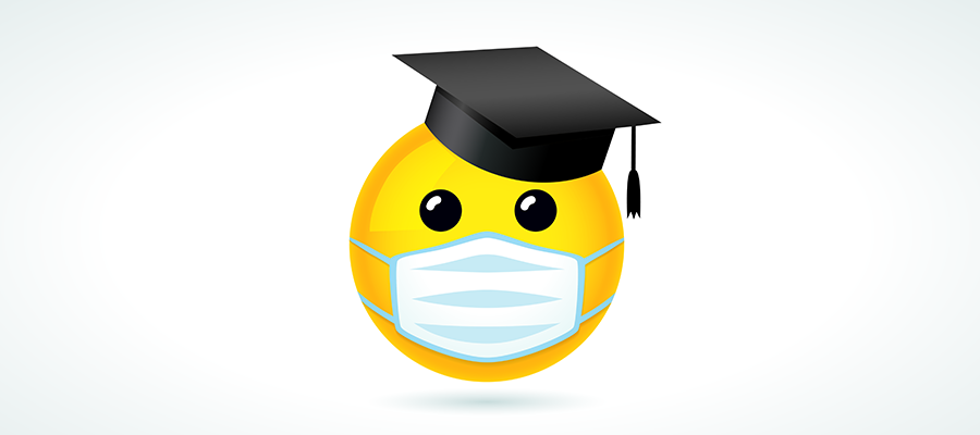 student emoticon with mask