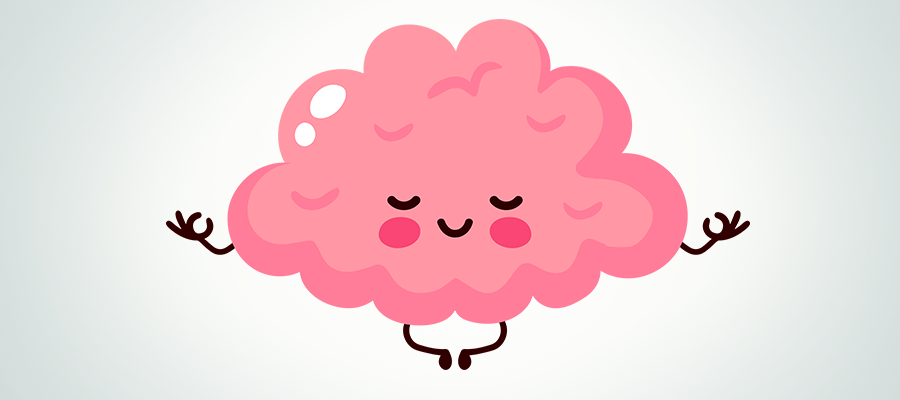drawing of a brain doing yoga