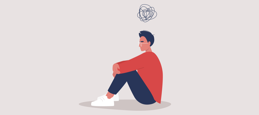 Drawing of a depressed man