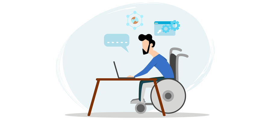 drawing of a disabled person using a laptop